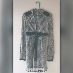 Free People Boho Green Plaid Dress Size 2